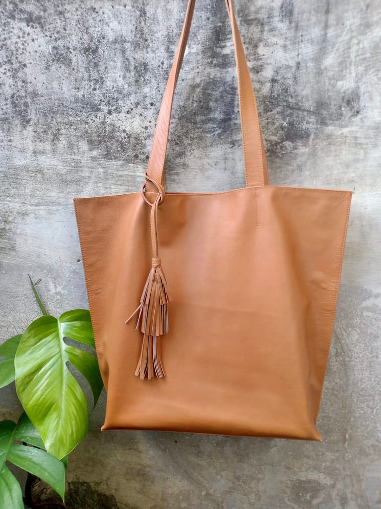 Tan Tote with Braiding and Tassles