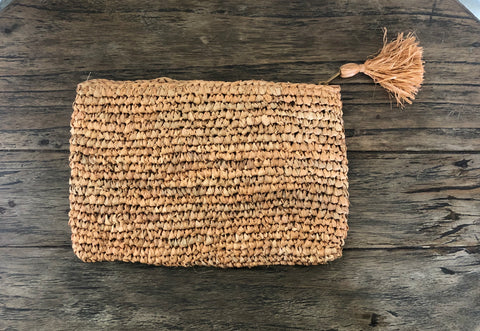 Raffia Clutch Bag - Pink/Nude