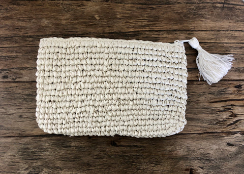 Raffia Clutch Bag - White