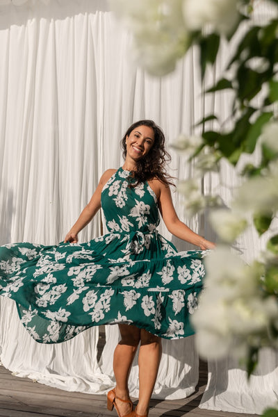 Paloma Flounce Dress  - Emerald Floral