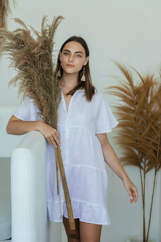 Lucy Dress - White LInen