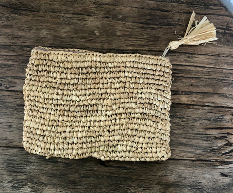 Raffia Clutch Bag - Natural