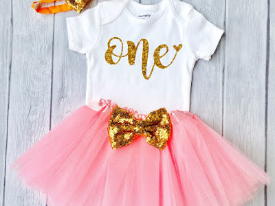 One year Baby Girls outfit 1st Birthday Outfit, special gift for your princess - Sparkly Gold One Design