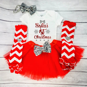 Baby Girl 1st Christmas Outfit, First Christmas Outfit, Personalized with Name