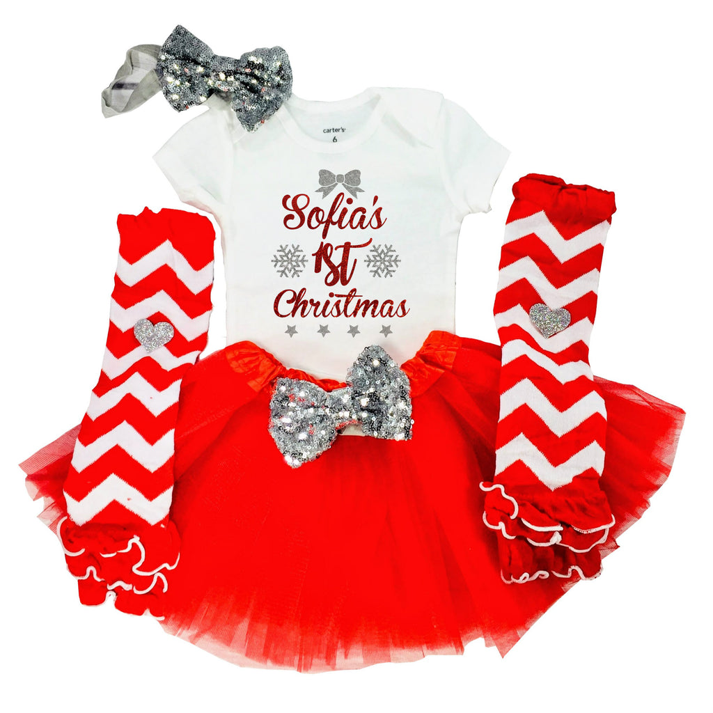 43b02c04e ... Baby Girl 1st Christmas Outfit, First Christmas Outfit, Personalized  with Name