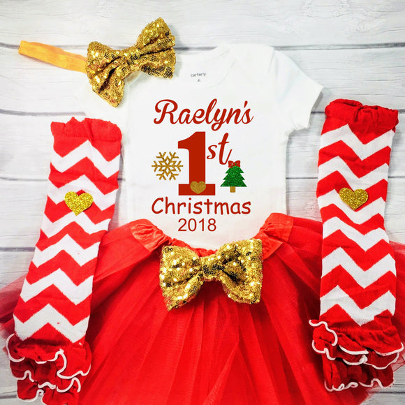 Baby Girl Christmas Outfit, First Christmas Outfit, Personalized 1st Christmas Outfit