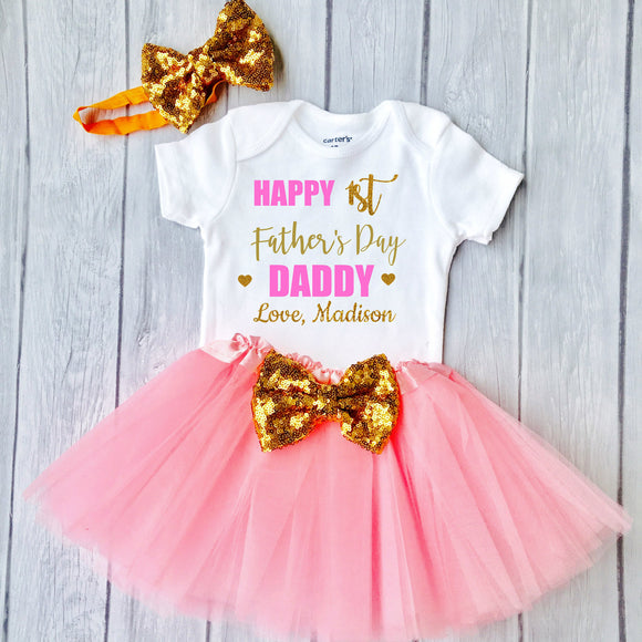 1st Fathers Day, Fathers Day Outfit Baby Girl, Happy Fathers Day, Personalized Outfit