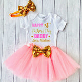 Baby Girl 1st Happy Father's Day Outfit Set