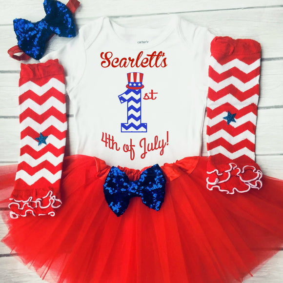 Personalized 1st 4th of July Outfit for Baby Girls 4th of July Tutu Set