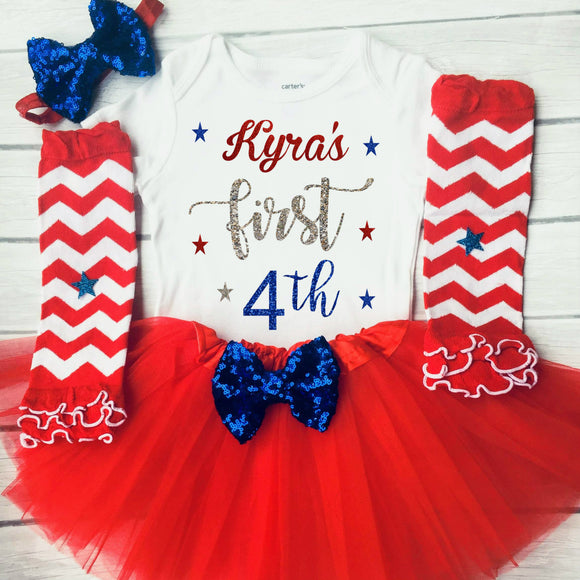 Baby Girl's 1st 4th of July Outfit First 4th of July Independence Day Outfit