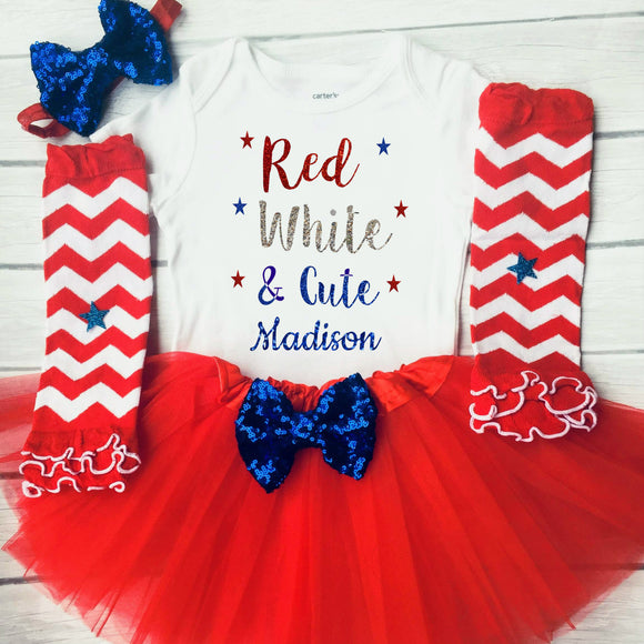 Red White and Cute, 1st Fourth of July Girl, Baby Girls Clothing Set, First Fourth of July Outfit