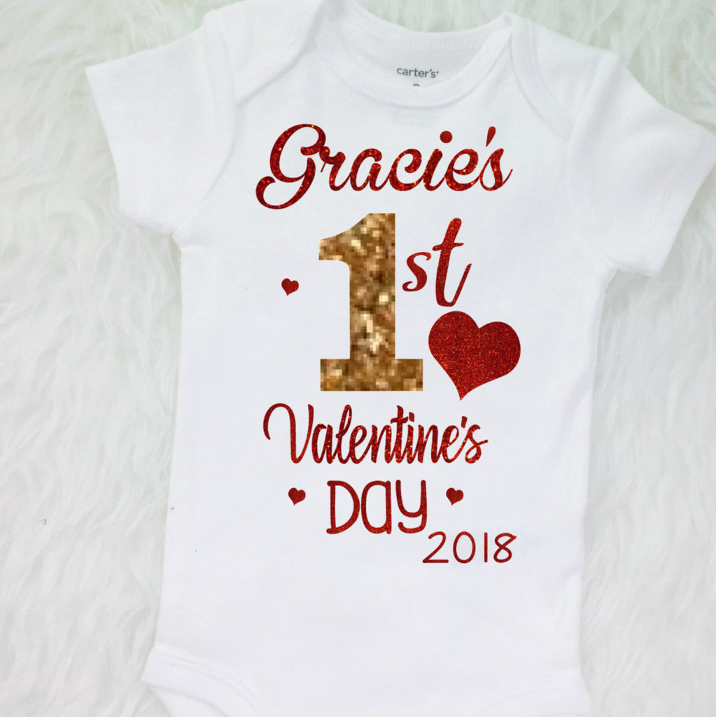 ce567e19ab1 ... 1st Valentine s Day- Baby Girl First Valentines Bodysuit with  Personalized ...
