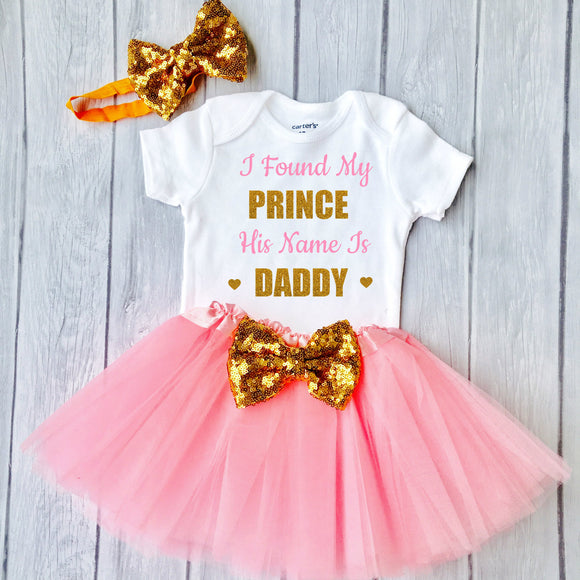 oddler Girls Fathers Day Outfit Fathers Day Gift From Girl Fathers Day Outfit I Found My Prince His Name Is Daddy