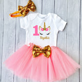 Baby Girls 1st Birthday Outfit, special gift for your princess - Sparkly Gold Unicorn Design