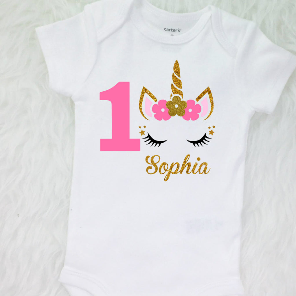 dcb909479 ... Baby Girls 1st Birthday Outfit, special gift for your princess -  Sparkly Gold Unicorn Design ...