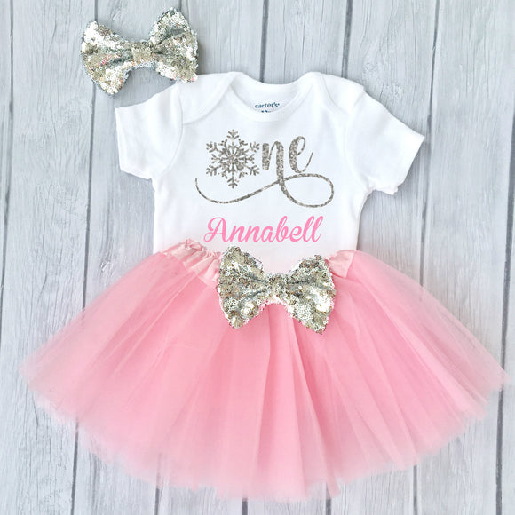 Winter Onederland 1st Birthday Outfit Baby Girl, Snowflake One Personalized Name
