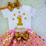 Baby Girls 1st Birthday Outfit, special gift for your princess - Sparkly Gold One Design