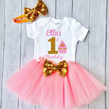 1st Birthday Outfit, Birthday Cupcake, girls first birthday outfit with tutu
