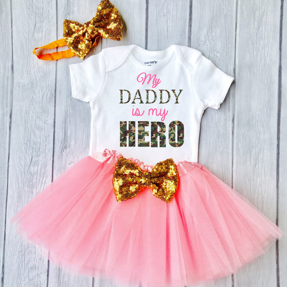 Daddy Is My Hero-Baby Girl 1st Happy Father's Day Outfit Set - Personalized Adorable Outfit