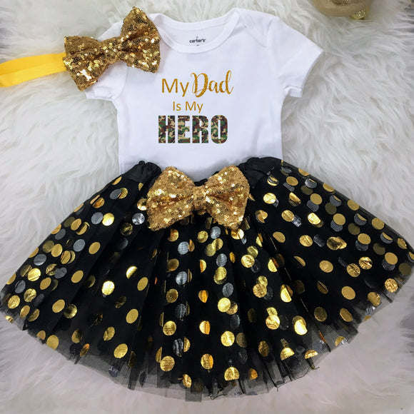 My Dad is My Hero-Personalized Adorable Outfit for your little baby's to celebrate 1st Father's Day