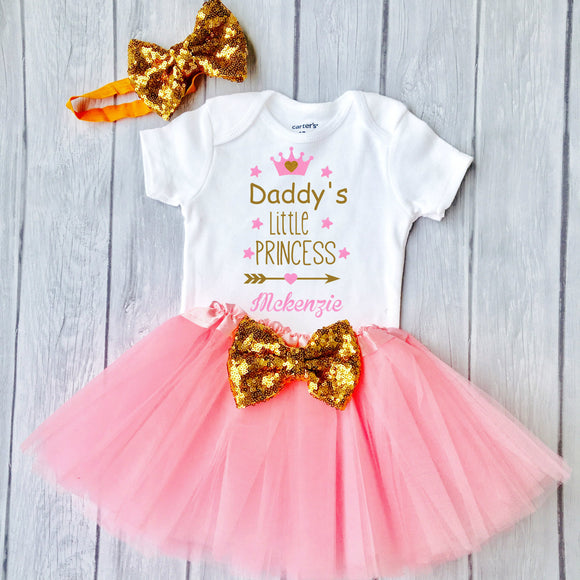 Daddy's little princess-Baby Girl 1st Happy Father's Day Outfit Set - Personalized Adorable Outfit