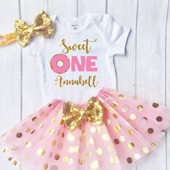 Baby Girls 1st Birthday Outfit, Sweet One, 1st Birthday outfit with a polka dot tutu