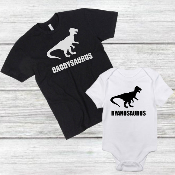 Father and Son Matching shirts dinosaur daddysaurus fathers day gift father and son shirts