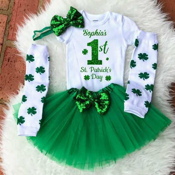 Personalized 1st St. Patricks Day Baby Girl Outfit
