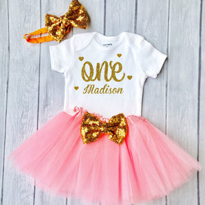 9c87aa80a22a4 Baby Girls 1st Birthday Outfit, 1st Birthday Gift, First Birthday Outfit -  Sparkly Gold