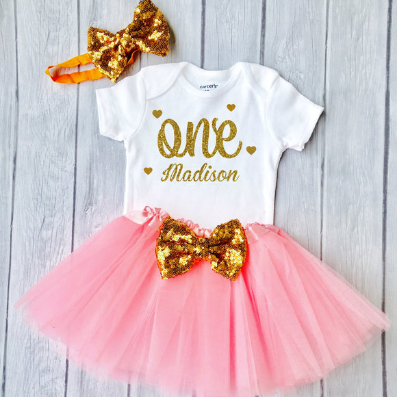Baby Girls 1st Birthday Outfit, 1st Birthday Gift, First Birthday Outfit  - Sparkly Gold One Design