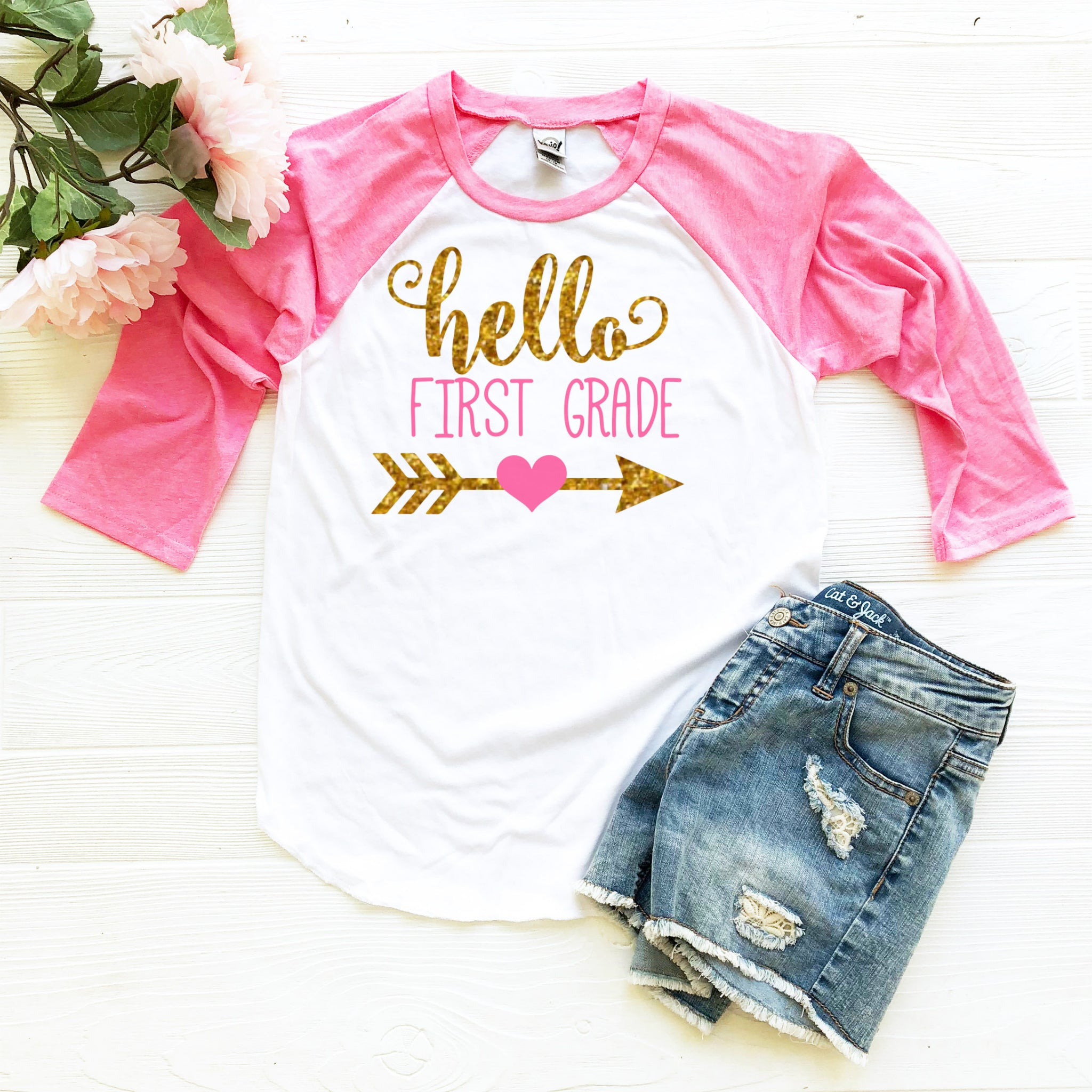First Day of First 1st Grade Girl/'s shirt Personalized!
