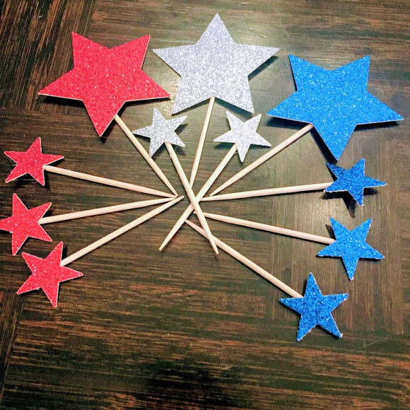 Fourth of July Dessert Topper, Sparkly independence day stars
