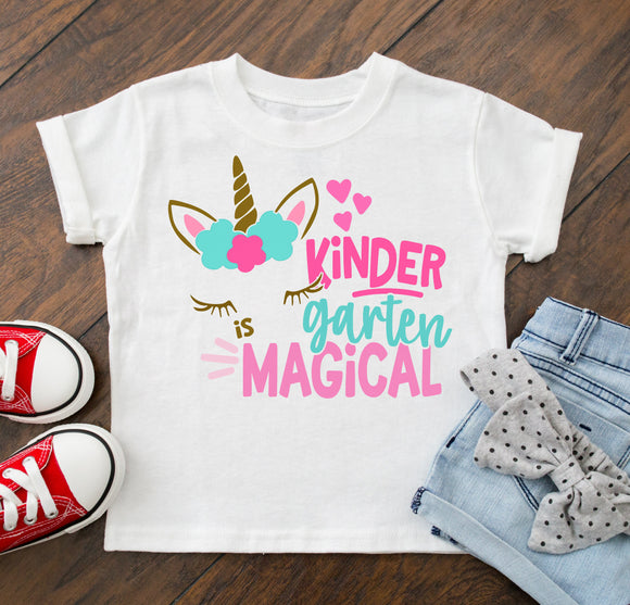 First Day Of School Shirt Girl's Kindergarten is Magical Outfit  - Personalize Name and Grade !!