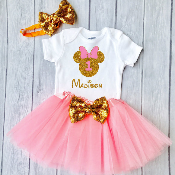 First Birthday Minnie Outfit, Little Girls First Birthday Tutu Outfit With Glittering Design