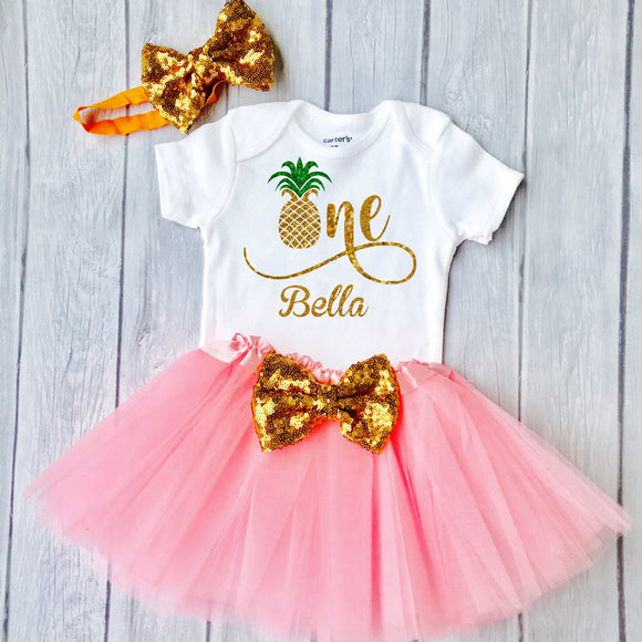 First Birthday outfit, Pineapple One, Summer Birthday outfit, Birthday Girl Luau Outfit