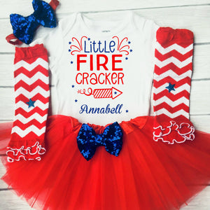 Little Fire Cracker Girls 4th of July Outfit Baby Independence Day 1st 4th of July Girl