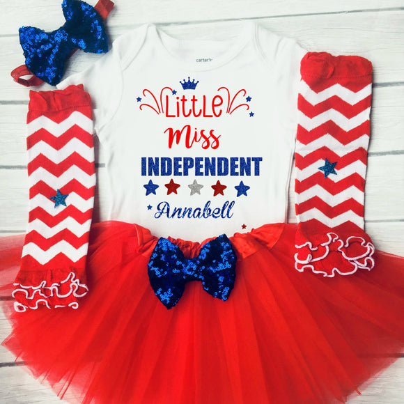 Little Miss Independent Girls 4th of July Outfit 4th of July Shirt Baby Independence Day