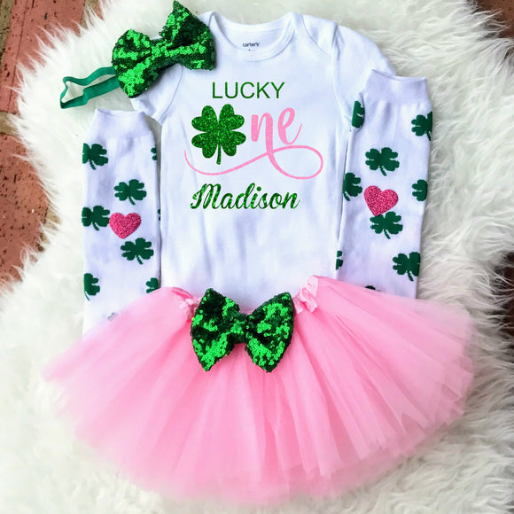 Baby Girls 1st Birthday Outfit - Lucky One Birthday Girl