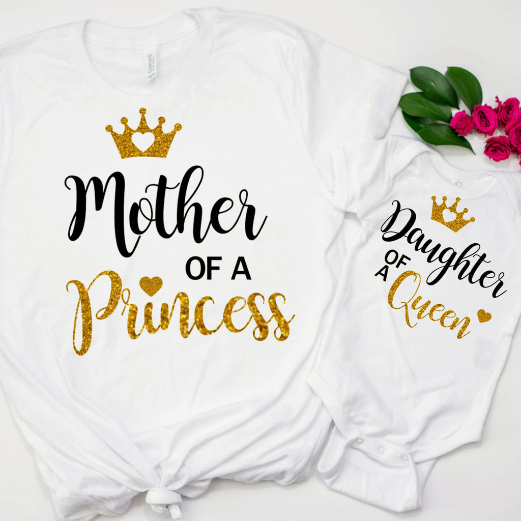 0ca84b529247c Cute Mommy & Me Matching shirts- Mother Of a Princess Daughter Of a Queen
