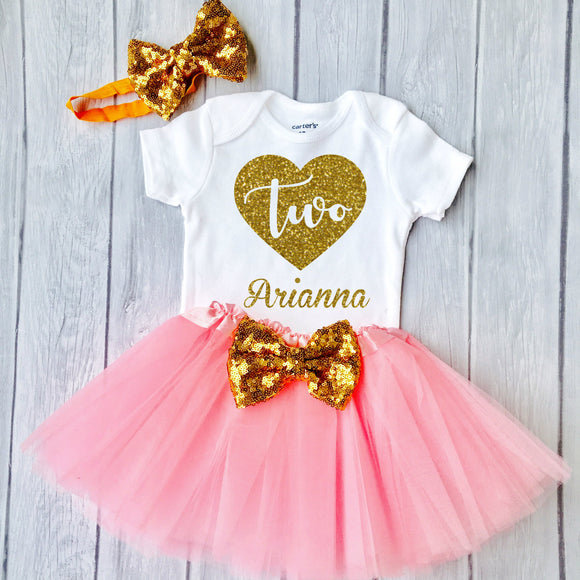 Second Birthday Outfit, Heart design and tutu, 2nd Birthday