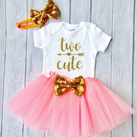 0c967b3bb Two Cute, Second birthday outfit, 2nd Birthday, Pink and Gold Tutu Birthday  Outfit