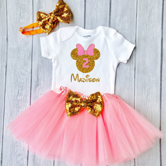 2nd Birthday Minnie Outfit, Little Girls 2nd Birthday Tutu Outfit With Glittering Design