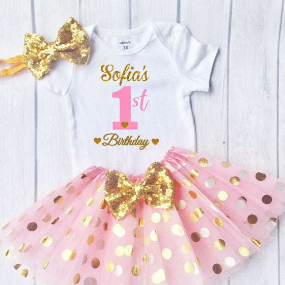 First Birthday Outfit, Sparkly Gold glittering font Design with tutu
