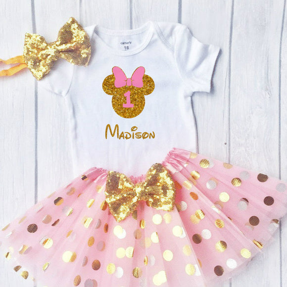 First Birthday Minnie Outfit, Little Girls First Birthday Tutu Outfit With Polka Dot Design