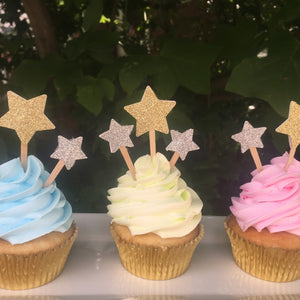 Star Cupcake Toppers, Silver and Gold Glitter, Birthday Cupcake Toppers, Twinkle Twinkle Party Decor