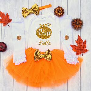 Pumpkin 1st Birthday Outfit Girl, Fall Birthday Outfit, Glittering Gold Pumpkin One