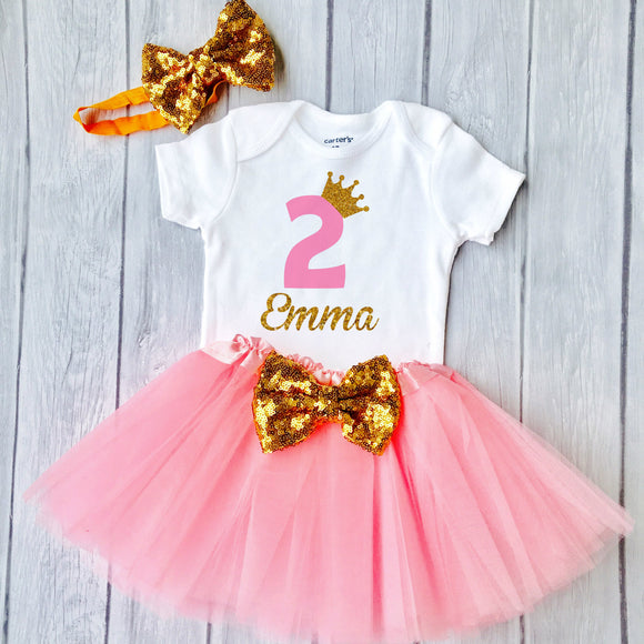 Baby Girl's 2nd Birthday Outfit, Pink and Gold Design with a Sparkly Crown