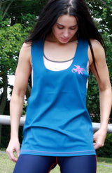 Blue twisted back singlet