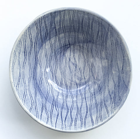 Soup Bowl, Blue Wavy Lines