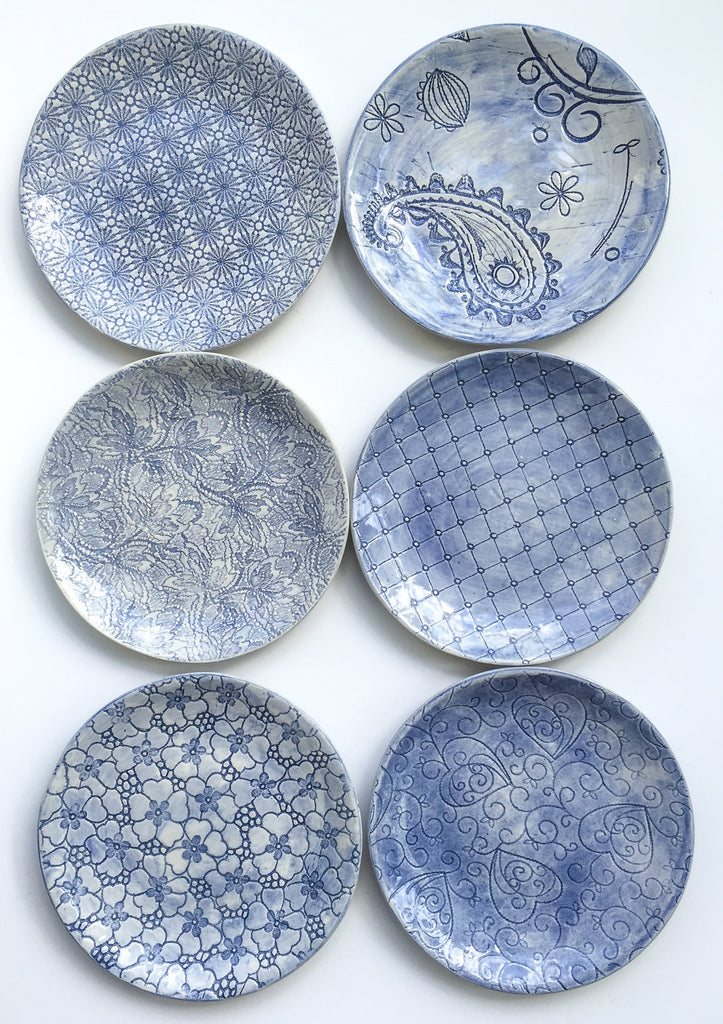 Side Plates, Blue, Set of 6